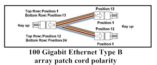 100 Gigabit Ethernet Type B array patch cord polarity